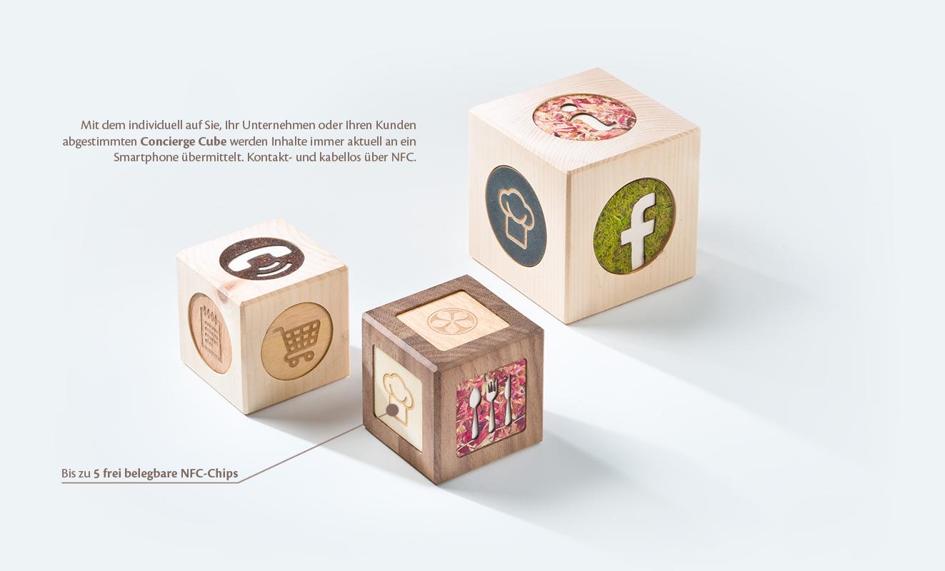 Concierge Cube - bis zu 5 frei belegbare NFC-Chips