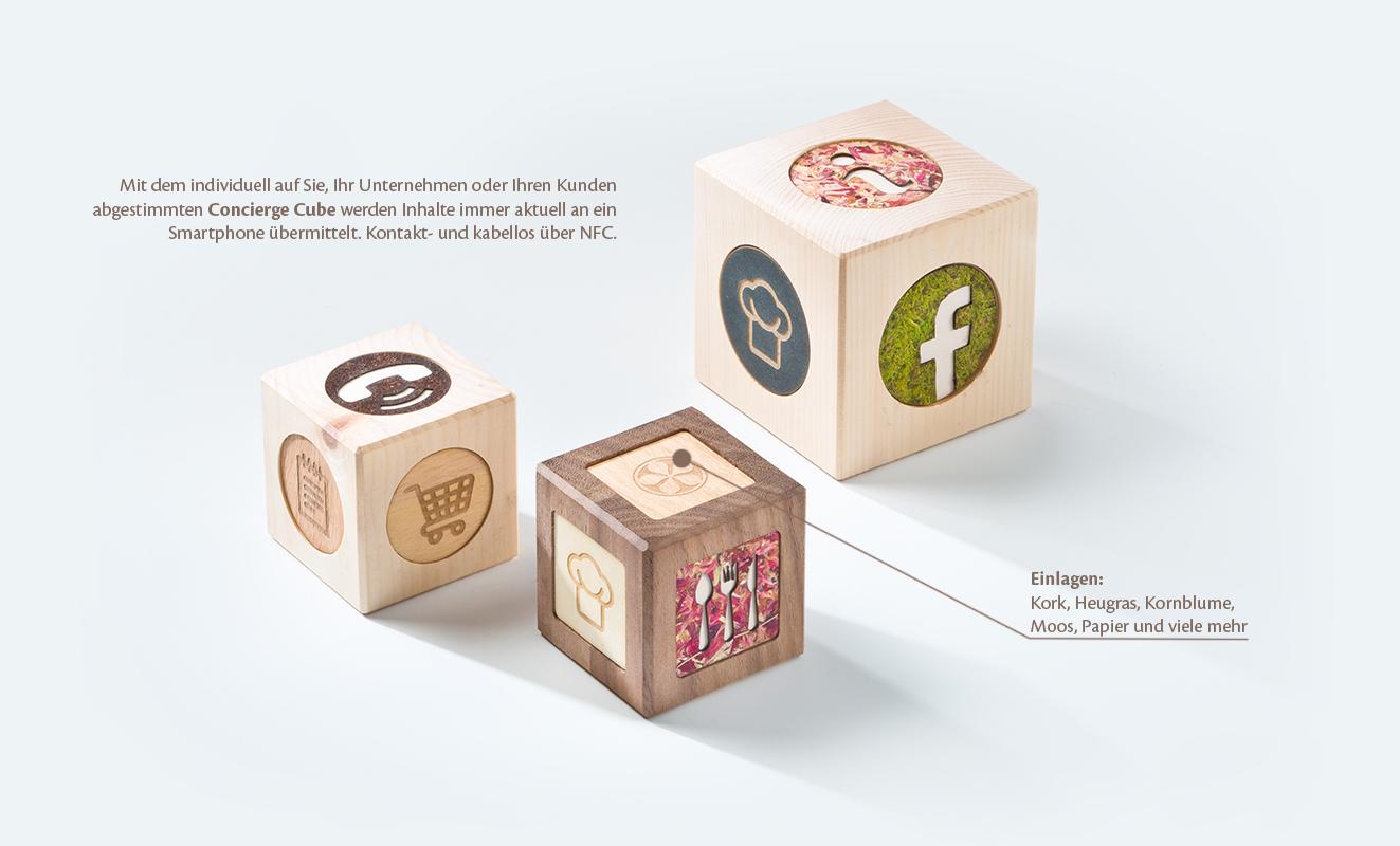 Concierge Cube - verschiedene Materialien für die Einlagen
